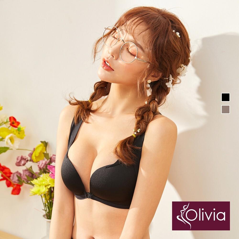 olivia無鋼圈美胸前後雙扣3d超集中包覆內衣-黑色