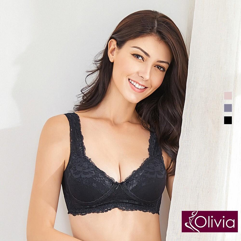olivia嚴選6a級天然100%蠶絲 無鋼圈魅惑蕾絲內衣-黑色