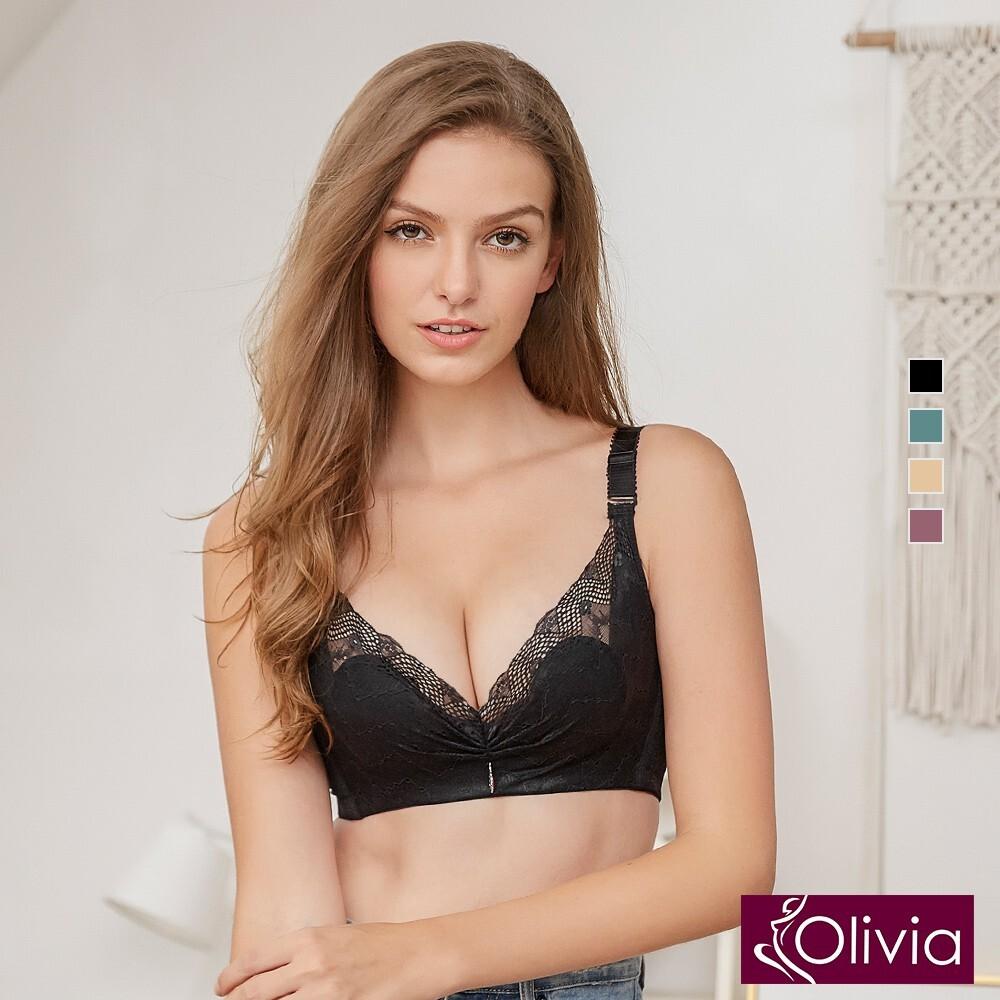 olivia無鋼圈柔軟裸紗超薄不露點蕾絲內衣-黑色