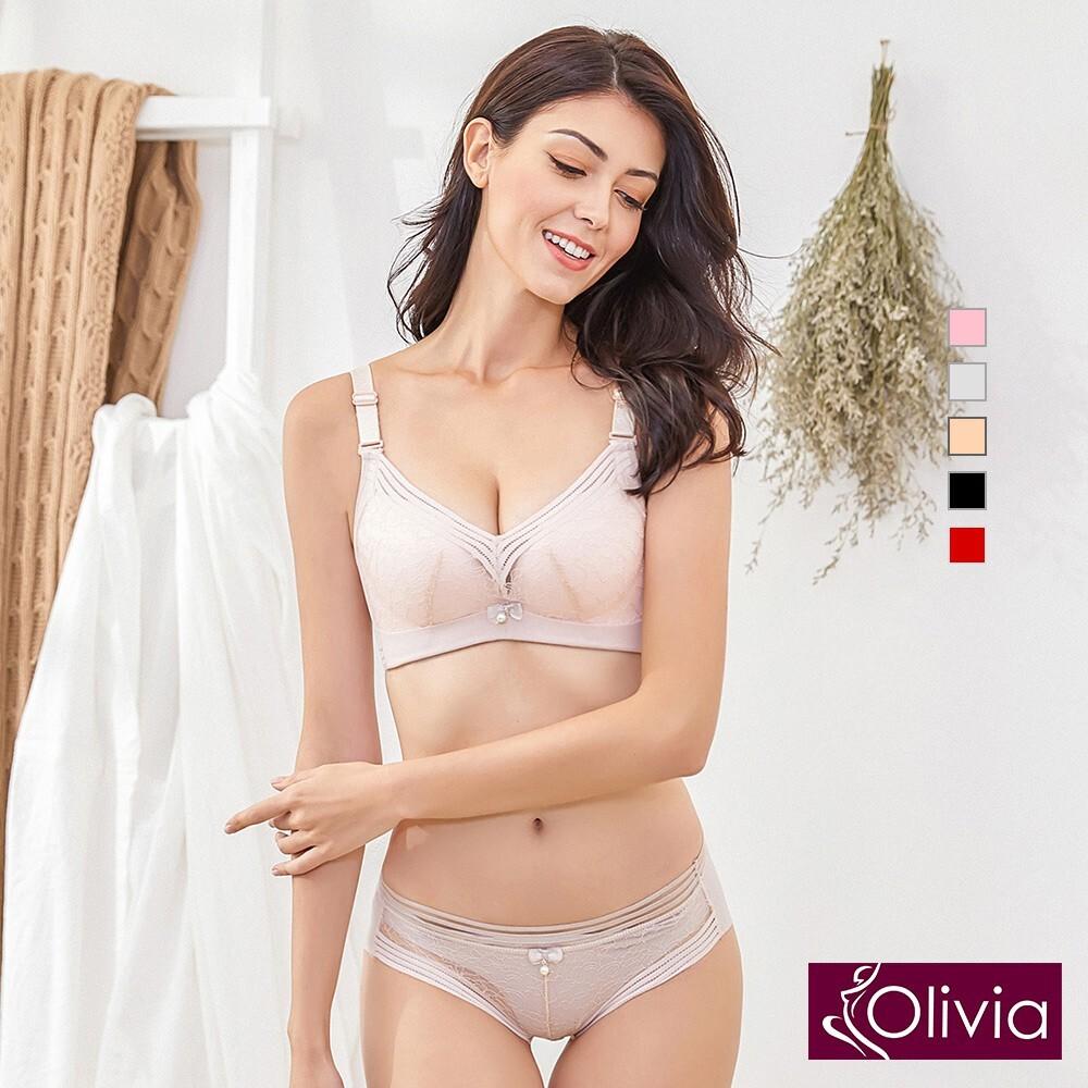 olivia無鋼圈素雅蕾絲內衣褲套組-膚色