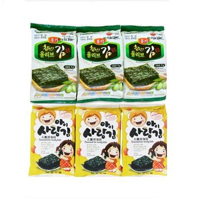 韓國humanwell橄欖油烤海苔片/兒童加鈣烤海苔片 (一封9小包) (7.4折)