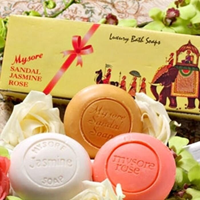 印度mysore頂級檀香皂花香皂3入禮盒組(全檀香款/檀香花香款)