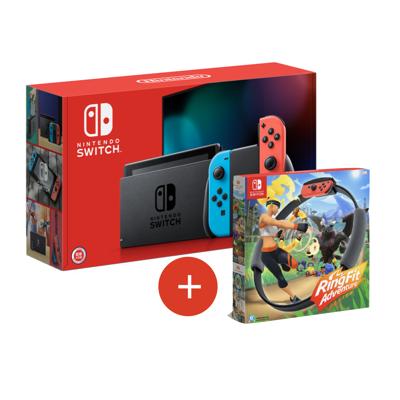 《限量快閃》Nintendo Switch健身環大冒險+電續加強紅藍主機+遊戲多選一+包+貼 (8.2折)