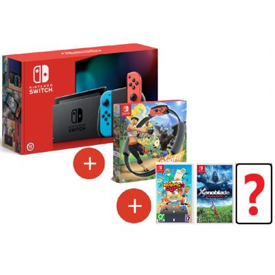 《現貨特價》NS Switch 主機 紅藍+健身環+3片遊戲(一片自選)+包+貼 台灣公司貨 (7折)