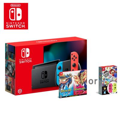 Switch《寶可夢劍盾雙包組》或《瑪莉歐派對組合包》+電續加強藍紅主機 (9.6折)
