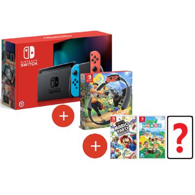 《現貨特價》NS Switch 主機 紅藍+健身環+派對+動森+自選1片遊戲+包+貼 台灣公司貨