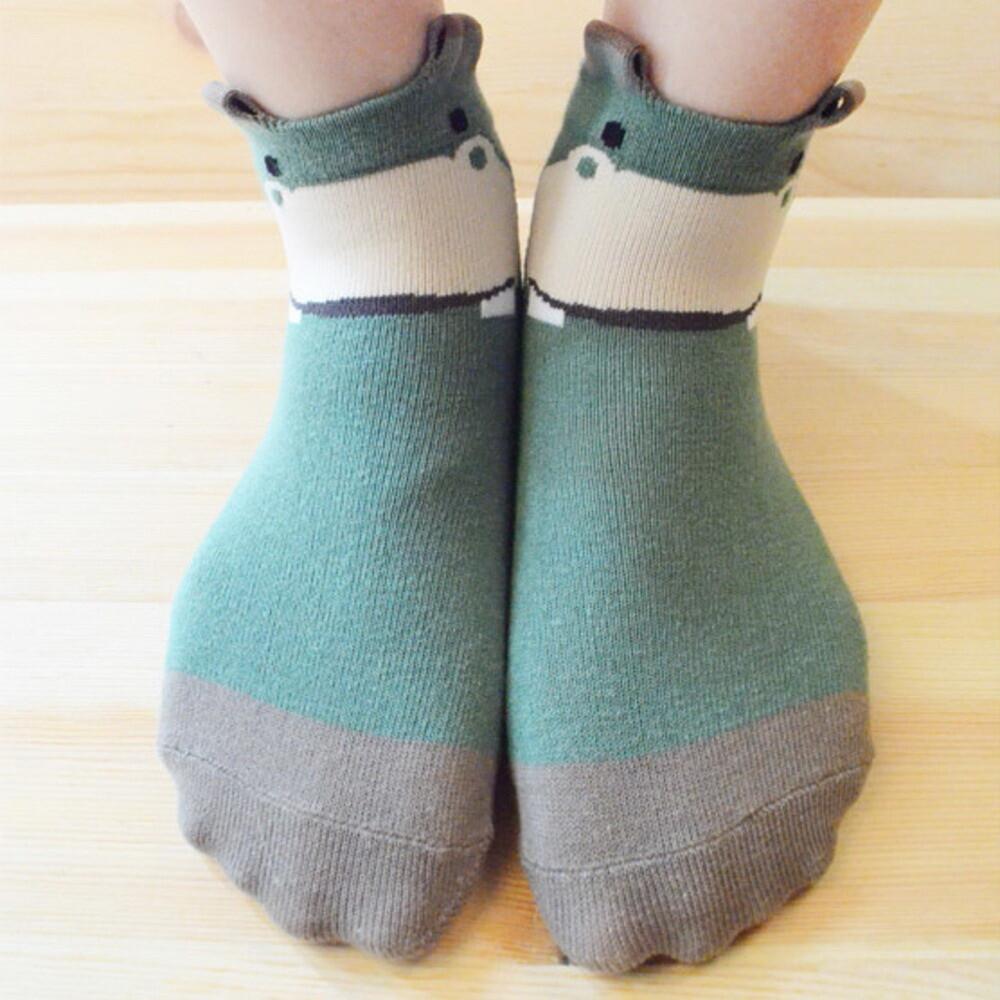 貝柔台灣製兒童趣味立體短襪(河馬)