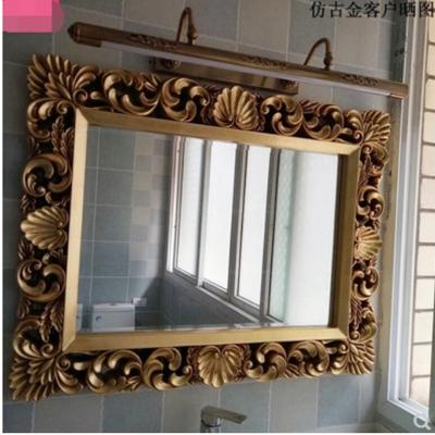 歐式方形衛浴鏡裝飾梳妝鏡子浴室鏡子酒店發廊鏡衛生間巴洛克鏡子 (7.1折)