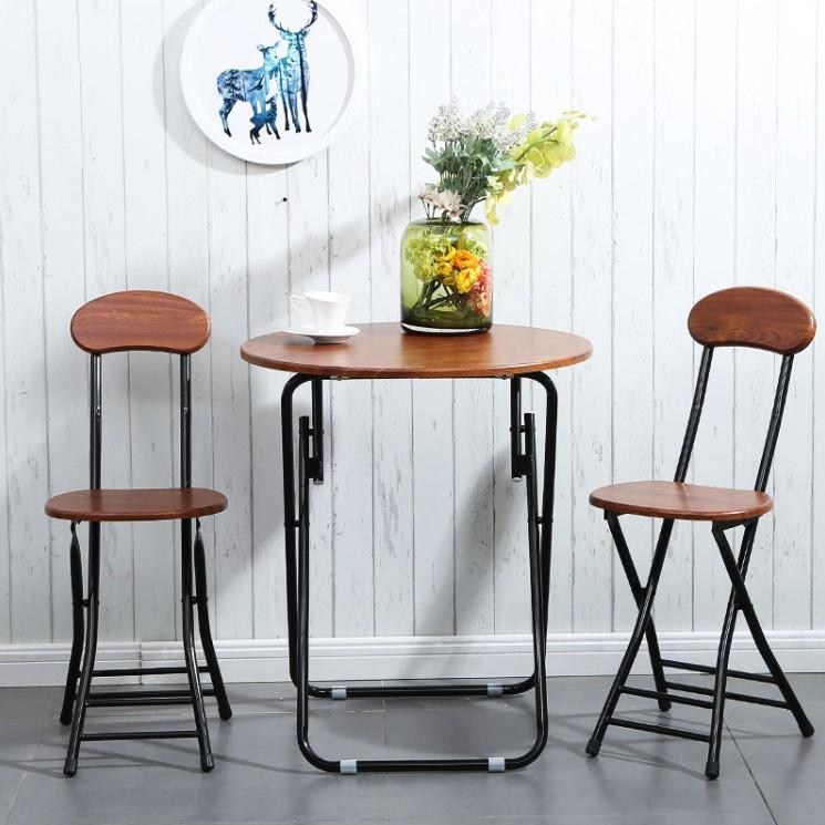 簡易折疊桌椅組合便攜餐桌擺攤桌家用吃飯桌子小圓桌陽台洽談圓桌 - 加兩個小凳子顔色備注