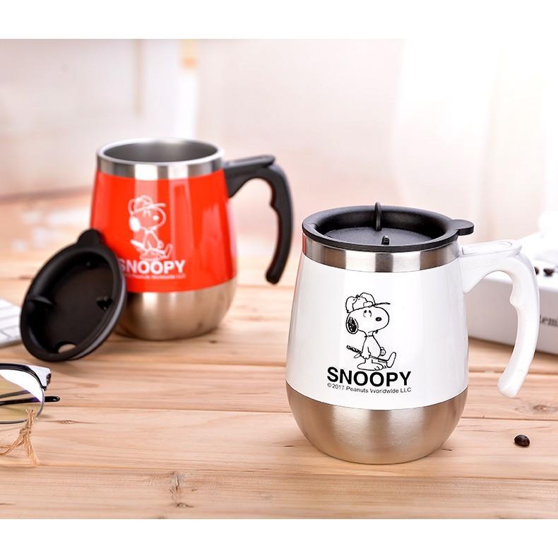 一件免運 史努比家用喝水杯不銹鋼茶杯辦公室帶蓋勺手柄咖啡杯保溫馬克杯子