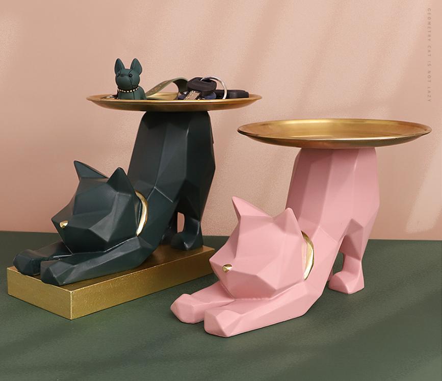 北歐風玄關貓咪鑰匙收納盤擺件客廳電視櫃家居裝飾品創意擺設輕奢