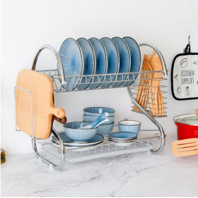 一件免運 不銹鋼廚房置物架碗架瀝水架筷子架免打孔家用碗碟盤子收納架雙層