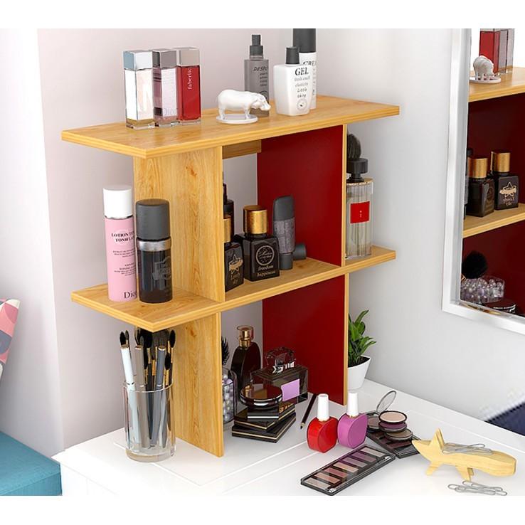 書架置物架簡約現代簡易桌上書架創意案頭收納架學生案頭展示架 - 90cm黃橡木色