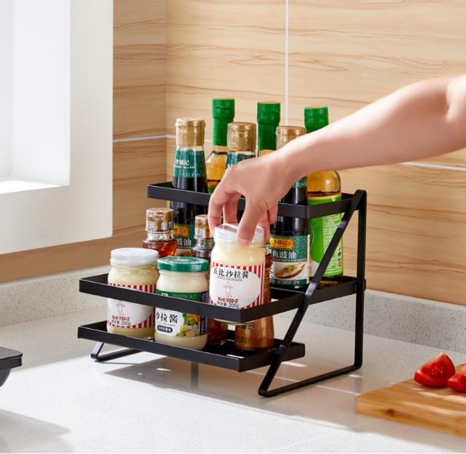 廚房調味料置物架 調料架 小型台面黑色不鏽鋼調料雙層架子 多功能