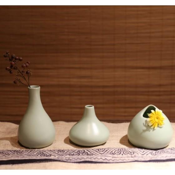 日式清新陶瓷小花瓶擺件花插 手工冰裂汝窯花瓶三件套 茶道花器