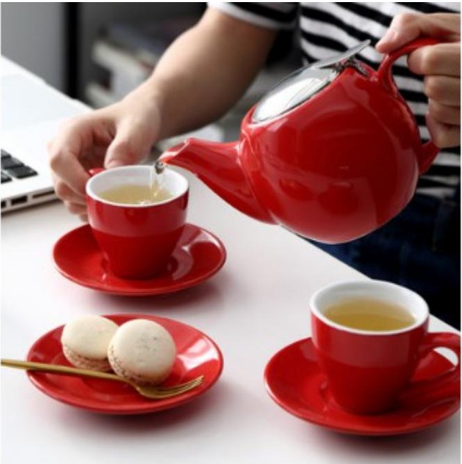 簡約英式陶瓷茶壺泡茶壺帶過濾茶濾配茶杯 花茶壺套裝 簡約清新居家
