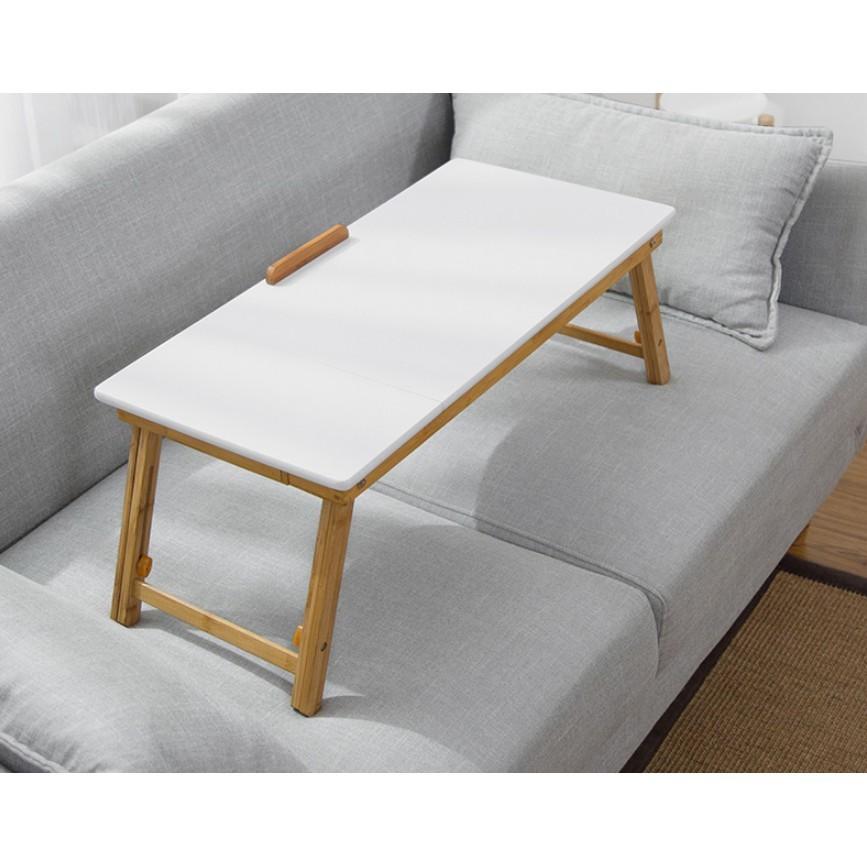 一件免運加長筆記本電腦桌床上用書桌移動小桌子懶人可折疊升降桌 - 平板70*34cm北極白全竹升降桌
