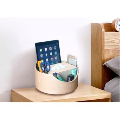 皮革多功能360度旋轉 辦公客廳茶幾桌面遙控器收納盒抽紙盒紙巾盒 (5.1折)
