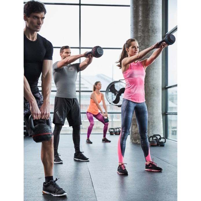 迪卡儂4-16kg壺鈴球浸塑啞鈴男女訓練肌肉鍛煉包膠提壺 cro - 16kg