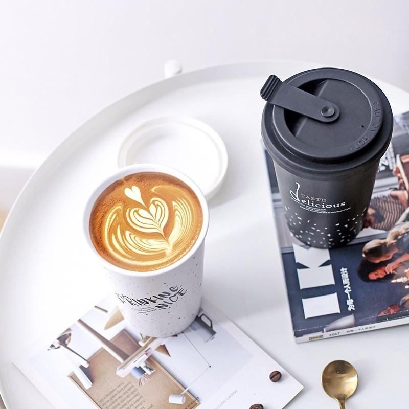 北歐陶瓷隨手杯家用防燙矽膠蓋咖啡杯辦公室水杯馬克杯大容量杯子