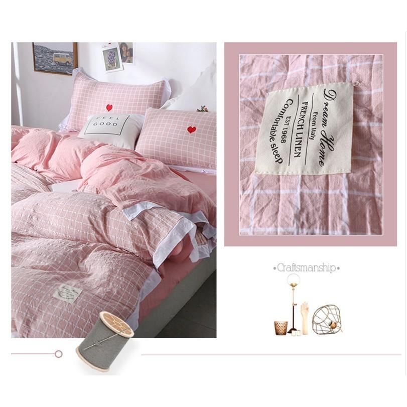四季安免運 簡約1.2m裸睡親膚床單三件套 1.8m公主風水洗棉被套 少女心床上四件套夏 - 2.0