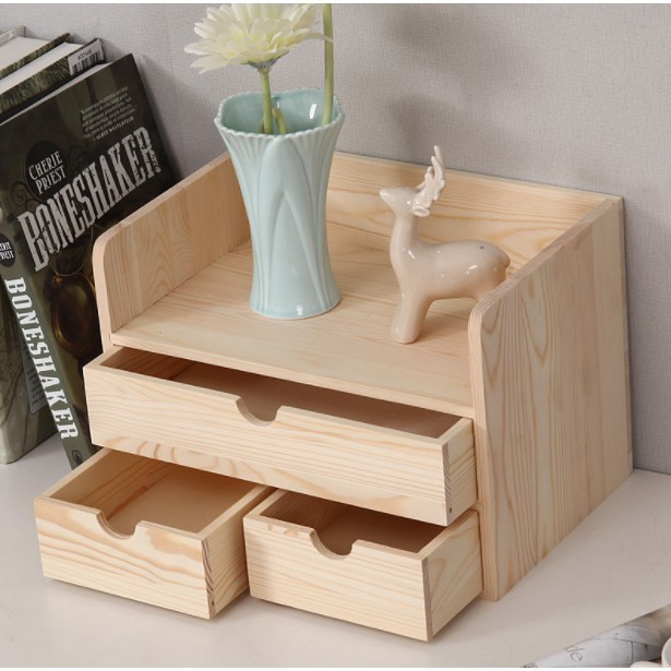 收納櫃收納盒化妝品桌面實木抽屜式箱子置物架整理盒創意小家具 - 原木色