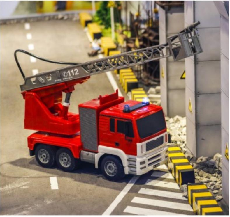 一件免運 雙鷹遙控消防車電動升降雲梯兒童男孩玩具模型5大號噴水3-6歲禮物 - 大號雲梯電動消防車