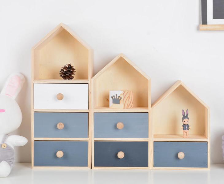 創意造型兩層彩色抽屜收納櫃