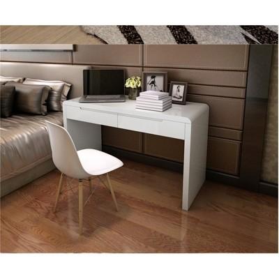 電腦桌現代簡約白色鋼琴烤漆小戶型臥室寫字台家用台式辦公書桌棹 - 加厚版材黑邊140*50*75 (8.1折)