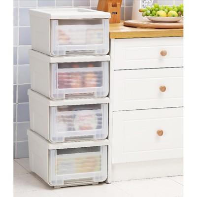 河馬口收納箱透明抽屜式衣櫃內衣收納盒小號塑料床底整理箱儲物櫃 - 48l-透明 (5.4折)