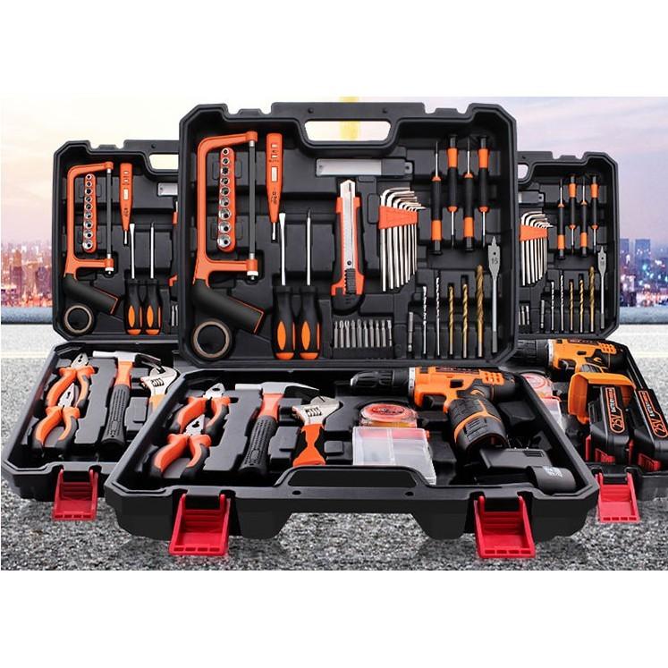 家用五金工具套裝電動手動工具多功能維修電工五金工具箱萬用套裝 -  25v雙速兩電一充五金工具箱套裝