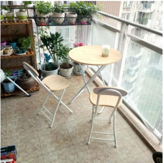現貨簡易折疊桌椅組合便攜餐桌擺攤桌家用吃飯桌子小圓桌陽台洽談圓桌 - 椅子*2