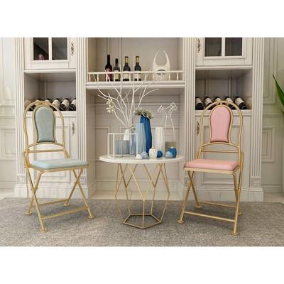北歐折疊收納餐椅現代簡約家用休閑鐵藝靠背椅子創意客廳複古簡易 - 亞光黑咖啡 (6.2折)