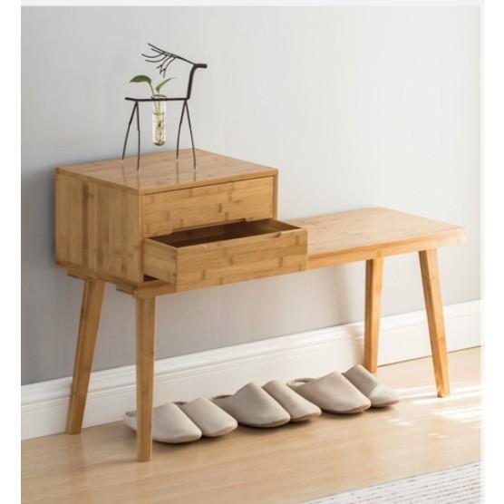 抽屜儲物凳沙發凳客廳穿鞋凳簡約現代長板凳門口換鞋凳多功能 - 胡桃兩抽換鞋凳