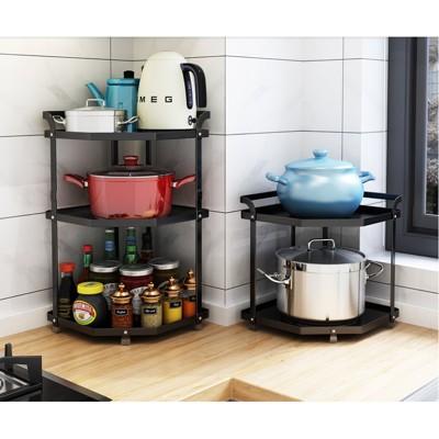 一件免運 鍋架子放鍋架三角置物架扇形廚房不鏽鋼轉角鍋具收納架多層台面 - 三層304不鏽鋼鍋架扁鋼款 (6.3折)