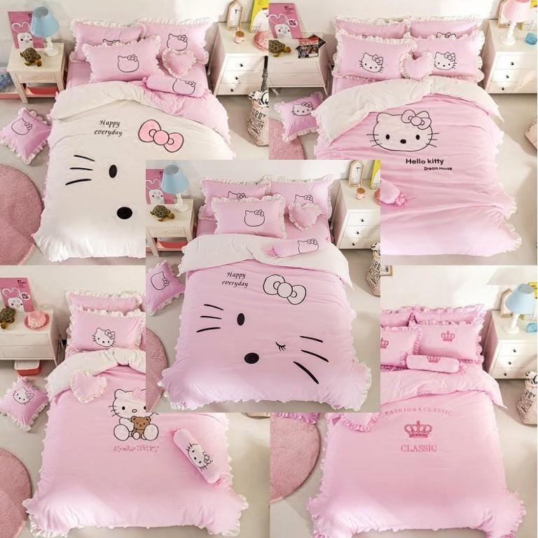 一件免運 卡通hello kitty四件套 凱蒂kt貓純棉四件套 公主風全棉被套床罩三件套 1.8