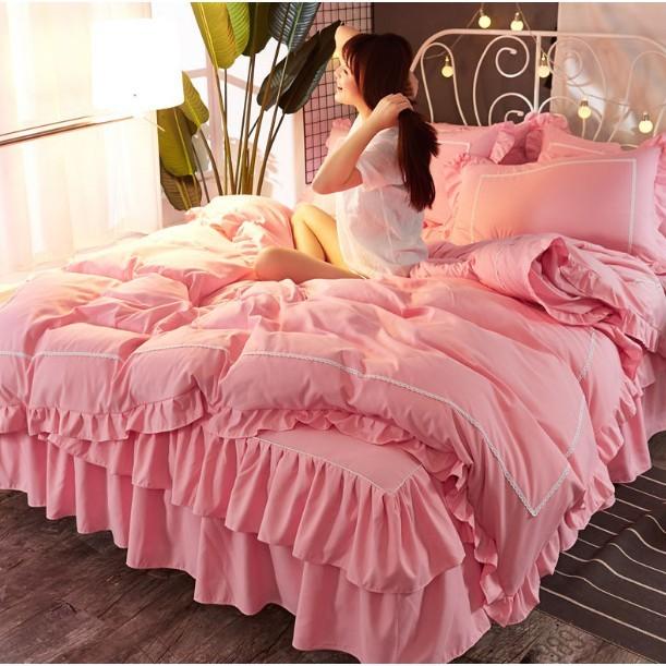春夏韓版被單 枕套公主風 純棉床裙 雙層裙擺四件套 全棉被套1.5/1.8m床罩純色床上用品 - 2