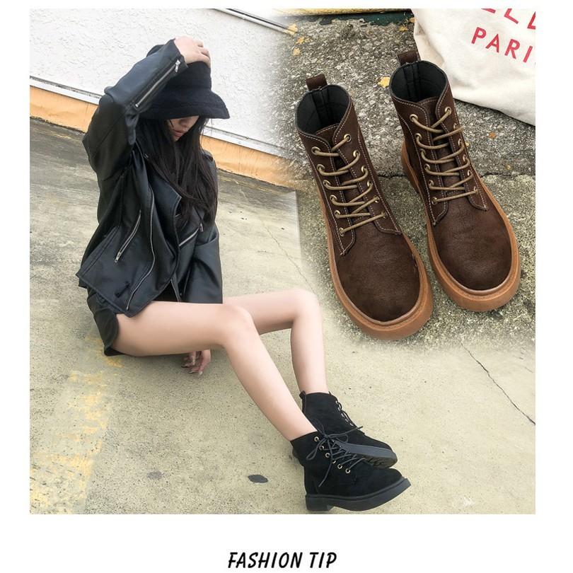 一件免運 chic馬丁靴 女 2018新款英倫風 韓版 學生 百搭 原宿 平底複古網紅短靴