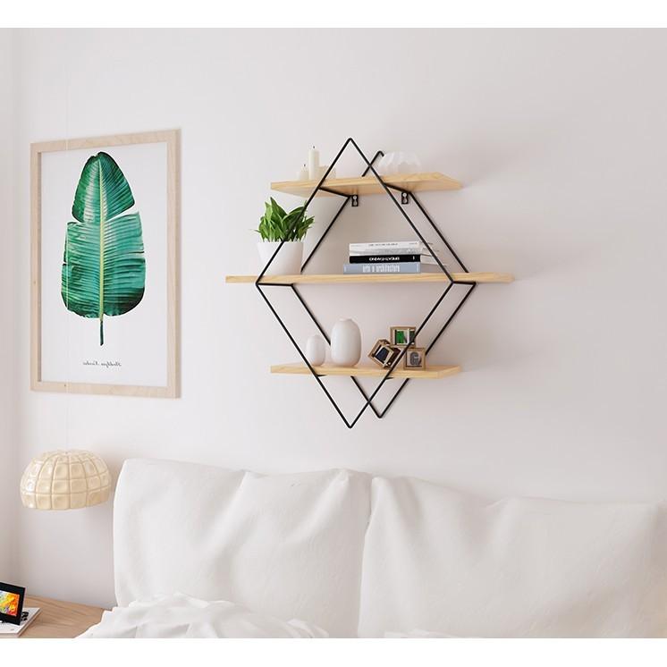 簡約現代實木墻上置物架客廳電視墻置物架壁掛一字擱板隔板架 - 小號長60*寬22*高80cm