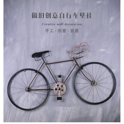 複古懷舊鐵藝自行車壁挂金屬壁飾店鋪網咖酒吧牆上牆面創意裝飾品 - 紅黑自行車+鐵皮畫+燈帶款 (5.7折)