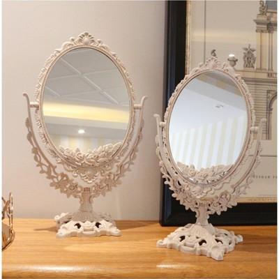 一件免運 雙面化妝鏡 台式公主鏡 歐式大號梳妝鏡宿舍鏡子高清少女心美容鏡 (4.8折)