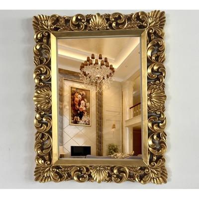 歐式方形衛浴鏡裝飾梳妝鏡子浴室鏡子酒店發廊鏡衛生間巴洛克鏡子 - 仿古金76*98cm (6.4折)