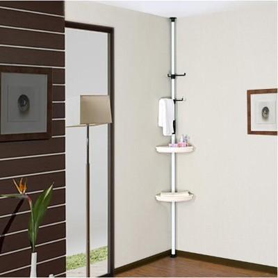 創意頂天立地浴室置物架 三角衛生間角架 轉角置物架收納架 - 3个长挂钩 3个置物盘