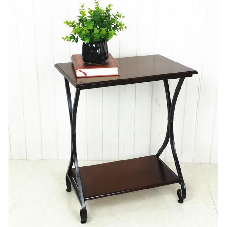美式鄉村鐵藝小茶幾實木簡約多功能角幾邊幾置物收納架床頭櫃 - 黑色