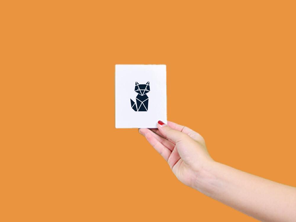 形紋身貼膜幾何狐狸29