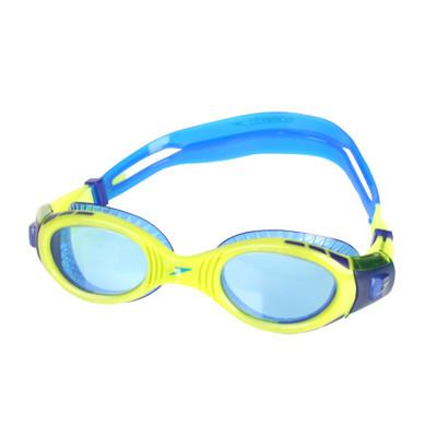 SPEEDO 兒童運動泳鏡-抗UV 防霧 蛙鏡 游泳 訓練 萊姆綠藍 (9.4折)