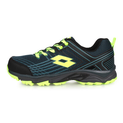 LOTTO 男防潑水越野跑鞋-寬楦 慢跑 走路鞋 健行 黑藍螢光綠 (8.9折)
