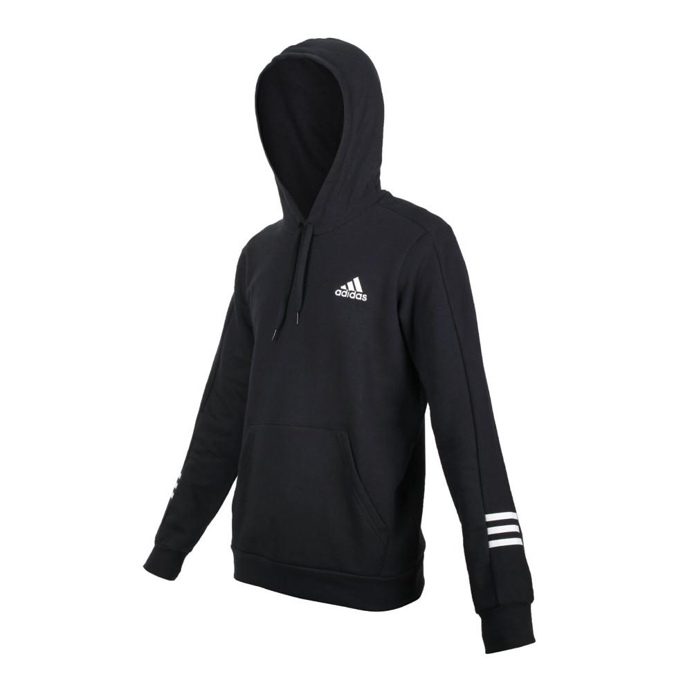 adidas 男長袖連帽t恤-essentials 休閒 上衣 刷毛 保暖 愛迪達 黑白