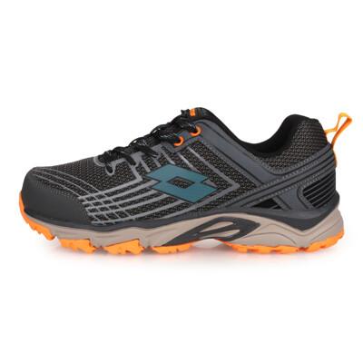 LOTTO 男防潑水越野跑鞋-寬楦 慢跑 走路鞋 健行 灰黑藍橘 (8.9折)