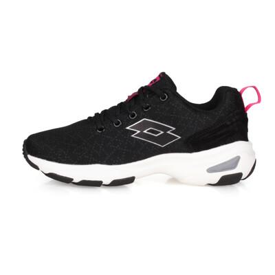 LOTTO 女增高美型 健走鞋-增高鞋 健步鞋 走路鞋 健行 黑銀 (8折)